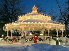 A gazebo decorated a