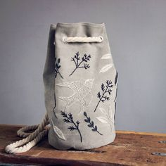 sold Canvas bucket bag🌿🎉 The bag can be carried on a shoulder or as a backpack. Available in my etsy. Folk Embroidery, Embroidery Patterns, Canvas Shopper Bag, Diy Handbag, Embroidered Bag, Handmade Bags, Bucket Bag, Bag Accessories, Etsy