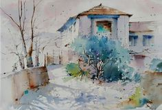 """Photo from album """"Blanca Álvarez"""" on Yandex. Watercolor Scenery, Watercolor Projects, Watercolor Trees, Watercolor Sketch, Watercolor Landscape, Watercolor Paintings, Watercolors, Watercolor Architecture, Art And Architecture"""