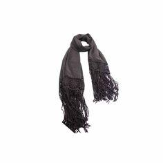 Echarpe Cinza com Renda de Viscose #echarpes #lenços #lenço #scarf #scarfs