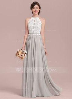[397,07 zł] A-Line/Princess Scoop Neck Floor-Length Chiffon Lace Bridesmaid Dress