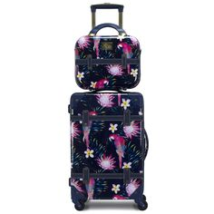 Built with the iconic Chariot Travelware Gatsby case, Parrot looks to improve on the sensational vintage-inspired luggage. Parrot is a bright, tropical pattern, with the entire luggage case stamped with vibrant pink parrots and flowers. And with a deep navy vegan leather trim, Parrot adds a flair of sophistication and fun into any traveler's style. This spinner is constructed from polycarbonate/ABS material, making it durable for any travel hitch it might encounter. Luggage Case, Luggage Sets, Carry On Suitcase, Carry On Luggage, Hardside Luggage, Spinner Suitcase, Beauty Case, Tropical Pattern