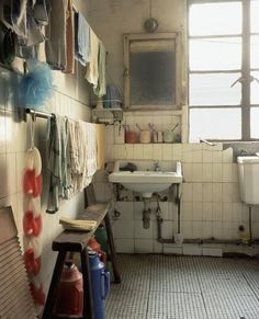 Bathrooms are oddly and commonly considered places of haunting. Perhaps it is not surprising as they usually contain both mirrors and water (both considered conduits to the otherside). But it might also be that it is a place where we are most naked and most vulnerable. This image: Shared Bathroom, Julu Lu, 2002