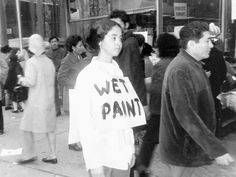 Adrian Piper, Catalysis (1970) performances of public provocation in NY to highlight social unease and tensions of race in the US
