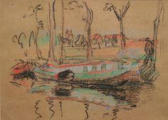 """Woonschepen Boterdiep. Pastel. Jan Altink : een van de oprichters van """"De Ploeg"""" (1918) en tevens de naamgever van deze Groninger kunstgroep"""