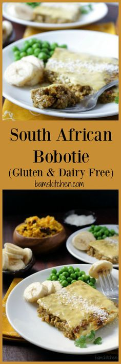 South African Bobotie is a delightful dish filled with tender ground beef, spices and aromatics with an egg topping and served with a side cozy side of yellow rice and sultans (raisins). Best Gluten Free Recipes, Great Recipes, Dinner Recipes, Favorite Recipes, Amazing Recipes, Easy Recipes, Oven Roasted Butternut Squash, Nigerian Food, South African Recipes