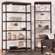 Somme Rustic Metal Frame 6-tier Bookshelf Media Tower - Overstock Shopping - Great Deals on Media/Bookshelves