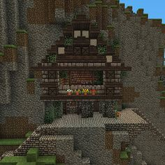 Minecraft house on the side of a mountain. | Minecraft ...