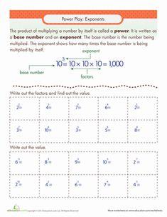 Exponents Table Worksheet | Numeros enteros, Enteros y Raíces