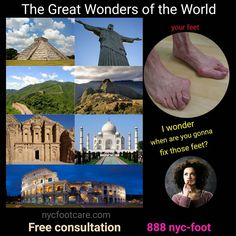 Are your feet one of the great wonders? Call NYC FOOTCARE 888-nyc-foot / nycfootcare.com 212.385.2400 #NYC #pedicure #highheels #l4l #toes #makeup #manhattan #bronx #brooklyn #queens #fashion...