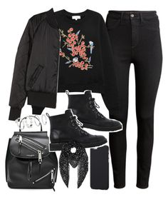 """""""outfit for winter with a sweater and bomber jacket"""" by ferned ❤ liked on Polyvore featuring H&M, Carven, Marc Jacobs, Giuseppe Zanotti and Yves Saint Laurent"""