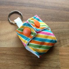 Cloth Diaper Cloth Nappy Mini Keychain Keyring Riley Blake Rainbows and Unicorn Stripes £3