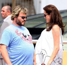 with Jack Black, pregnant with the twins in 2008