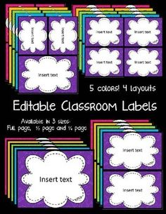 Bright FREE labels to help you stay organized (and they're editable!)--also check out other products by seller (class supplies relay) Classroom Labels, Classroom Organisation, Teacher Organization, Classroom Displays, Future Classroom, Classroom Themes, Classroom Management, Classroom Setting, Classroom Design