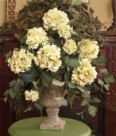 "Light Green Hydrangeas Silk Flower Arrangement AR114-99. Soft green faux hydrangeas with plumosom fern in Grecian urn. Size 27""H x 20""W  Box size 16x16x26, Dim weight 34"