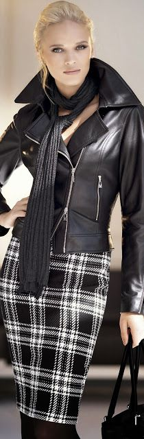 Black Leather Jacket and Skirt