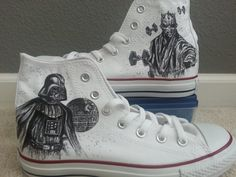 Star Wars Darth and Darth Maul Converse Hi Tops with the Deathstar and X-Wing Fighters! ARTWORK and SHOES INCLUDED