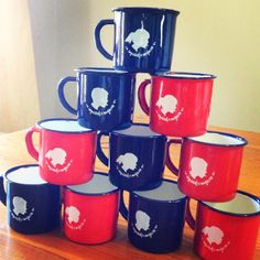 Red and Navy Stoutgatte Mugs by tjou-tjou Red Mug, How To Apply, Mugs, Navy, Tableware, Pretty, Afrikaans, Stuff To Buy, Blue