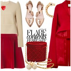 Little red riding hood by pensivepeacock on Polyvore featuring polyvore, fashion, style, Delpozo, Love Moschino, Oscar de la Renta, Chanel, Kenneth Jay Lane, Loushelou and Moschino