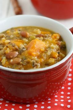 A hearty vegan and gluten free soup made in the slow cooker with wild rice, sweet potatoes, and pinto beans. Say hello to fall!