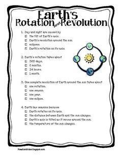 This is a quick quiz about Earth's Rotation and Revolution that I ...