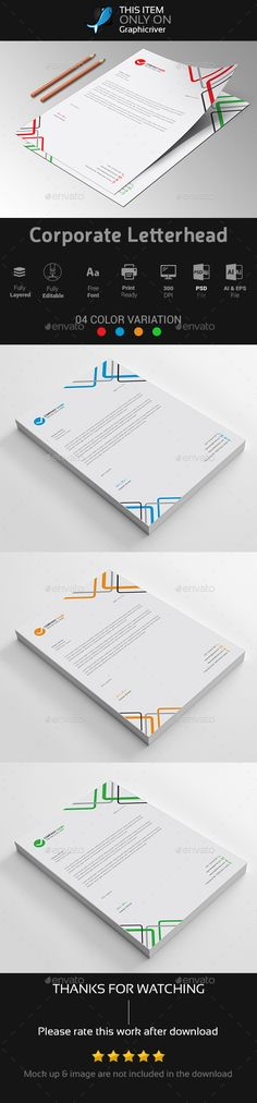 Corporate Letterhead Template PSD, AI & EPS