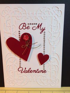 Valentine's card with spellbinders Mystical embrace die, diamanté, Britannia valentines sentiment dies and Express yourself DIY hearts.