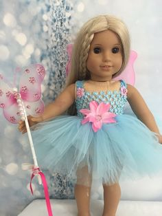"""American Girl Baby Blue Fairy dress Wings And Wand clothes fits all 18"""" dolls"""