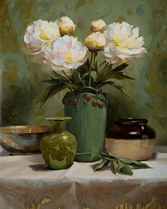Peonies in green by Laurie Kersey Oil ~ 24 x 20 Art Floral, Floral Artwork, Painting Still Life, Still Life Art, Still Life Flowers, Rose Pictures, Beautiful Paintings, Art Oil, Painting & Drawing