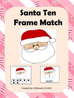 Students will have fun matching #Santa ten frames to the appropriate #number. You could also turn these cards over and use it as a memory game. Recording sheets are also included to go along with this activity.