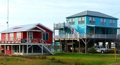 A whole town on stilts, Grand Isle, Louisiana! http://www.gypsynester.com/grandisle.htm