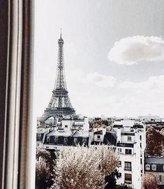 Cloudy, moody Paris window view