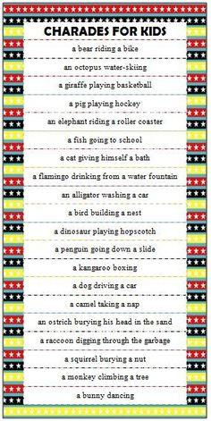 Kids Charades Ideas - Free Printable Game For Family Fun
