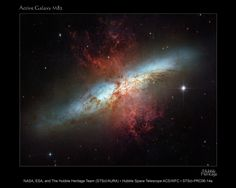 Starburst Galaxy M82 Plumes of glowing hydrogen blast from the central nucleus of M82. The pale, star-like objects are clusters of tens to hundreds of thousands of stars.  Credit: NASA, ESA, and The Hubble Heritage Team (STScI/AURA)  Acknowledgment: J. Gallagher (University of Wisconsin), M. Mountain (STScI), and P. Puxley (National Science Foundation