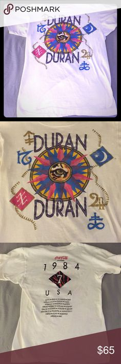 True Vintage Duran Duran shirt from 1984!! Super cool, true vintage Duran Duran concert tour shirt from the 1984 Seven and The Ragged Tiger tour. A few small holes, but certainly still a great shirt. Size Extra Small Tops Tees - Short Sleeve
