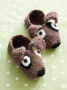 Puppy Slippers | Yarn | Free Knitting Patterns | Crochet Patterns | Yarnspirations