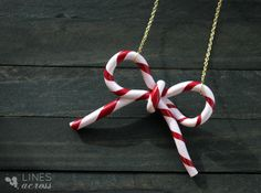 """""""Lines Across"""": Candy Cane Bow Necklace (or Ornament)"""