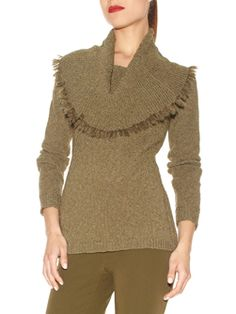 """Doncaster.com-W225SW37OLI. Cowl Neck Tunic Sweater In Nubby Tweed. 2x2 ribs at cowl neck with hand knit mohair fringe, ¾ length raglan sleeves, 1x1 ribs at cuffs, side body and hem, fully fashioned contoured ribs at side of body at front and back, fully fashioned. Unlined, 27""""."""