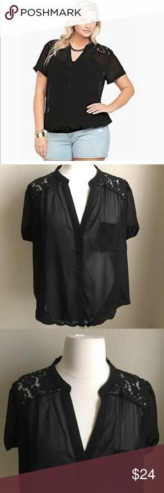 TORRID BLACK LACE BUTTON UP BLOUSE TOP 4 PLUS Very sexy black lace blouse, button up with one breast pocket. Elastic waistline, lace back with a relaxed fit. Easy to wear with anything, pair with a bright color for this holiday season! Size 4 like new! torrid Tops Blouses