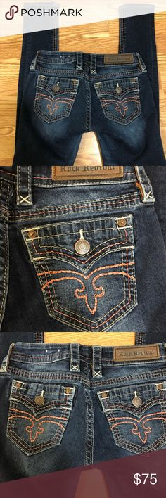 Rock Revival jeans Size 25 Rock Revival Alivia skinny jeans. These are one the most comfortable pair of Rocks I have ever owned. Well cared for, as they are one of my faves!! Just time to move on! MAKE AN OFFER! Rock Revival Jeans Skinny