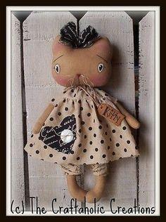 Primitive Raggedy Cat Doll Kitty Black and White Polka Dot | eBay