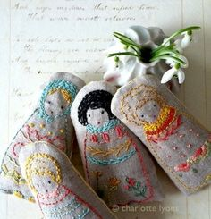 embroidered dolls or sampler PDF pattern and by charlottelyons