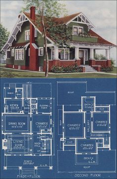 Craftman Bungalow Style House - 1921 American Homes Beautiful - Chicago - Bowes