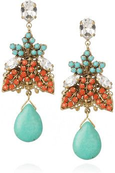 Turquoise, Coral and Swarovski Crystal Earrings