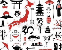 Illustration of Japan icons vector art, clipart and stock vectors. Japanese Drawings, Japanese Tattoo Art, Japanese Tattoo Designs, Japanese Sleeve Tattoos, Japanese Prints, Japan Design, Japan Tattoo Design, Japan Illustration, Japan Icon