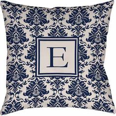 Thumbprintz Damask Monogram Decorative Pillow, Blue