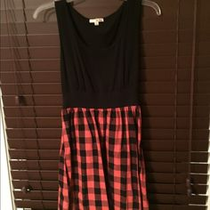 Orange and black plaid dress size small Bought at a boutique in NYC.  Super comfy Dresses