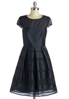 Navy It's Love Dress | Mod Retro Vintage Dresses | ModCloth.com Gorgeous navy shantung/chiffon dress.
