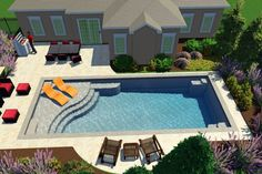 Rectangular Pool With Baja Shelf Design Poolside