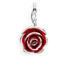 Nature Charm, Rose aus Silber mit Brandlack & Karabiner.